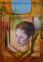 Down Blue: 2011, Pinselzeichnung, Acryl, Aquarell, Guache auf Papier