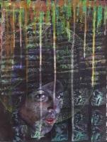 PHOTOPSY 6: 2011, Kartoffeldruck und Pinselzeichnung, Tempera, Guache auf Papier